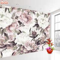 Papeles de pared personalizados para sala de estar 3 d papeles tapiz decoración del hogar papel Mural 3d papel tapiz paredes rollos de papel de pared Rosa Floral