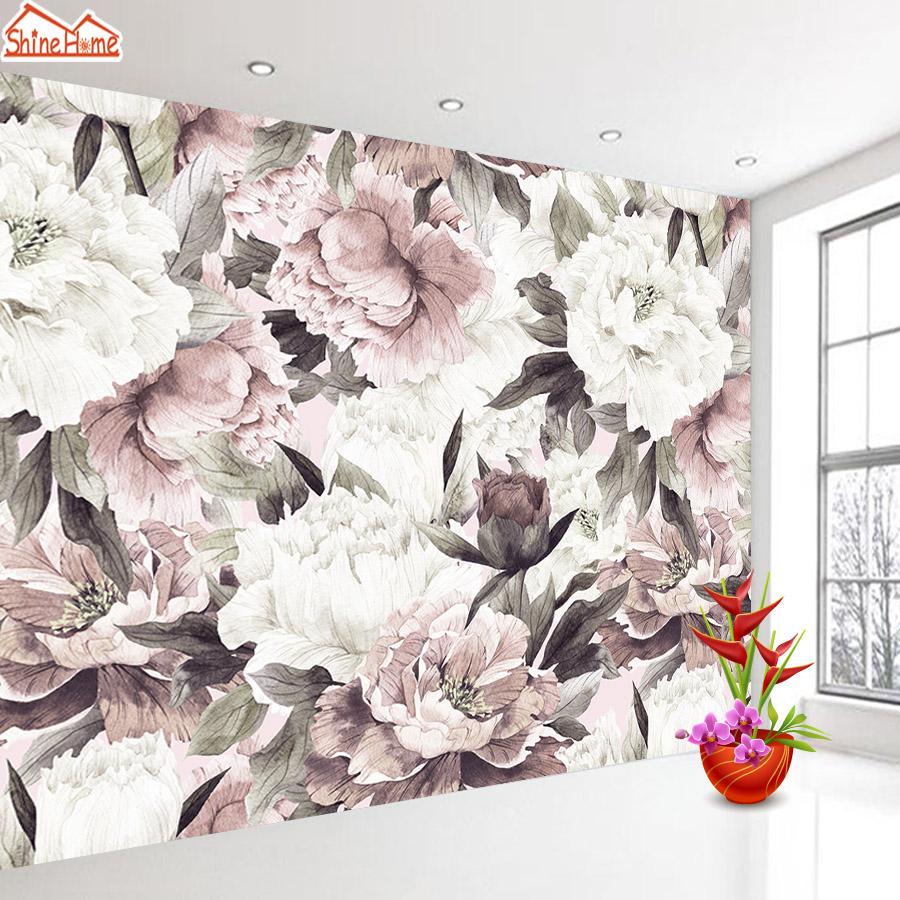 Personalizado 3 d Papéis De Parede Papéis De Parede para Sala de estar Home Decor Paper 3d Mural Papel De Parede Paredes Rolls Floral Subiu papel de parede