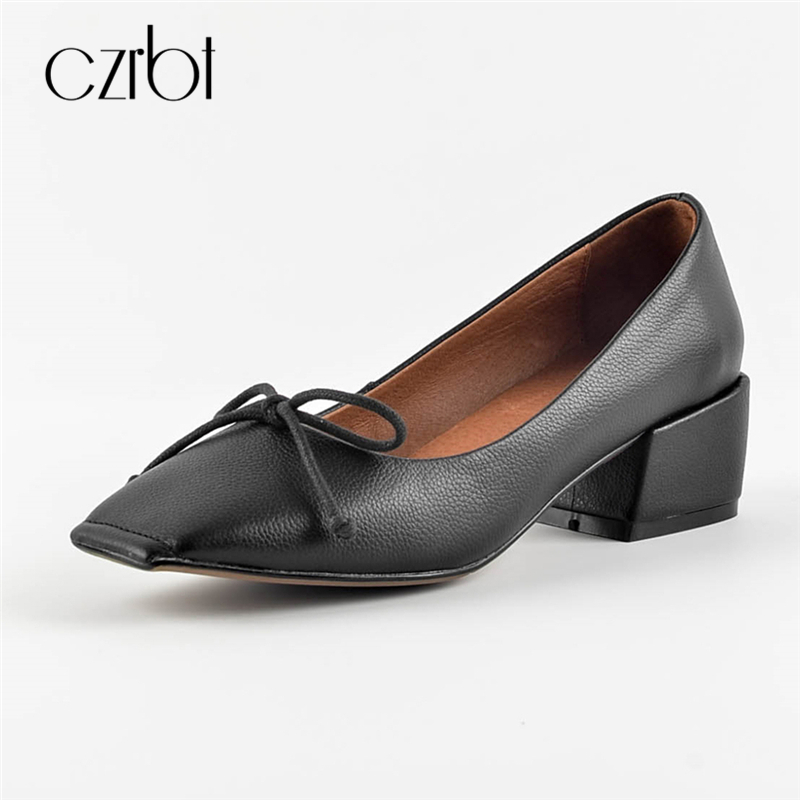 CZRBT Classic Mary Janes High Heels Genuine Leather Women Shoes Spring Autumn Women Square Toe Shallow Mouth High Heel Shoes цена и фото