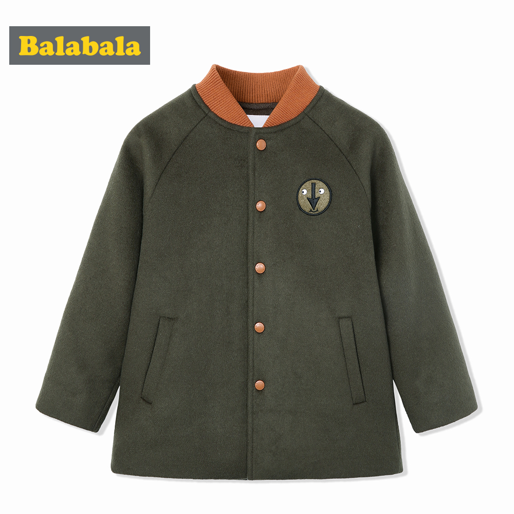 balabala Children Woolen Coat For Boys Autumn Winter Kids Boys Casual Warm Jackets Embroidered Patch Pocket Coats Child Boys