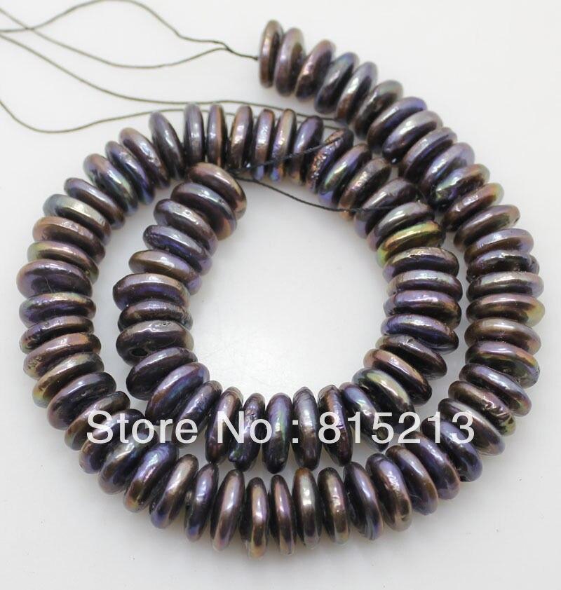LIVRAISON GRATUITE >>>@@> N410 13-14mm cordes coin brun noir perles lâche perles collier peut choisir