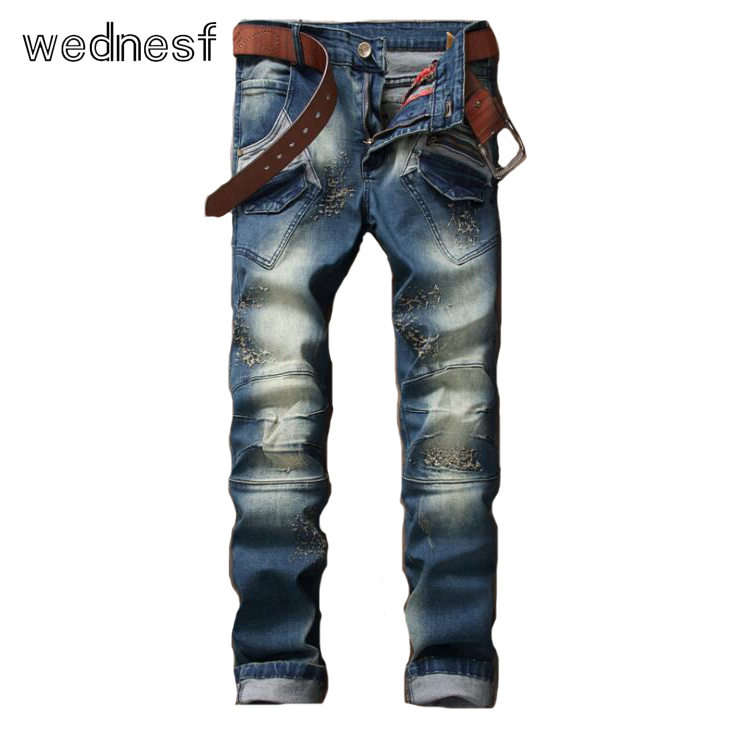 ФОТО #1955 2017 Jogger jeans Fashion jeans homme Fake designer clothes Patchwork Distressed Skinny jeans men Motorcycle jeans Biker