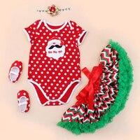 4 шт. в Комплект Санта оленей Красный горошек Новогоднее платье для маленьких девочек зеленый Петти юбка-пачка бабочкой повязка, туфли для ...