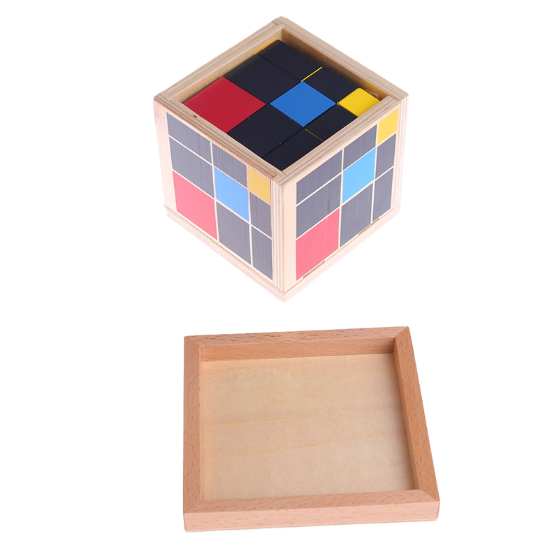OOTDTY Montessori Wooden Trinomial Cube Early Learning Educational Toys for Toddlers Child Kids M35