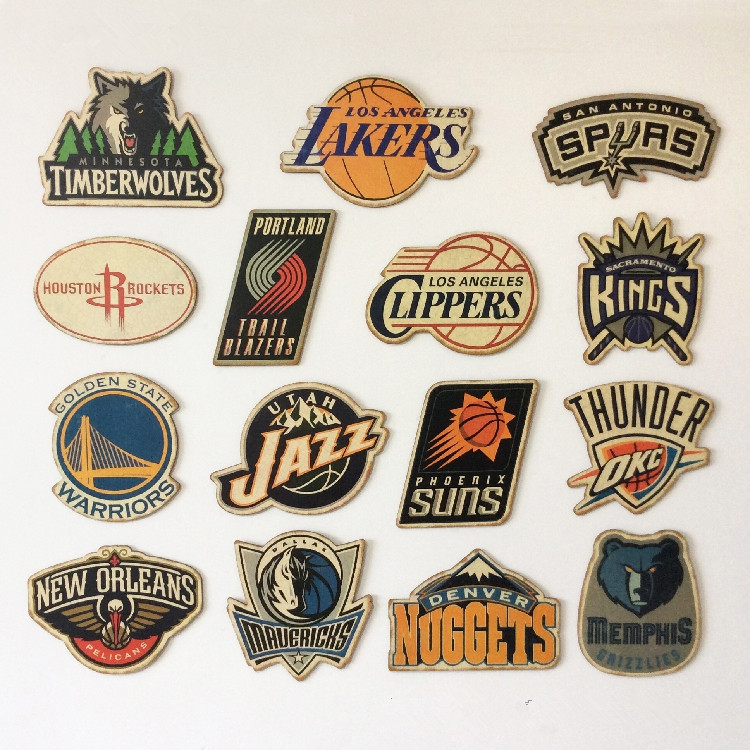 NBA Western Conference Team Logo Bar Cafe Home Decoration Antique Poster Wall Chart Retro Basketball Decorative Wall Sticker image