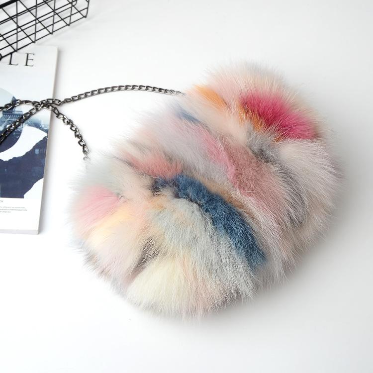 luxury Ladies fox fur women clutch bags patchwork blosa party bag chians shoulder bag zipper winter female purse crossbody bag