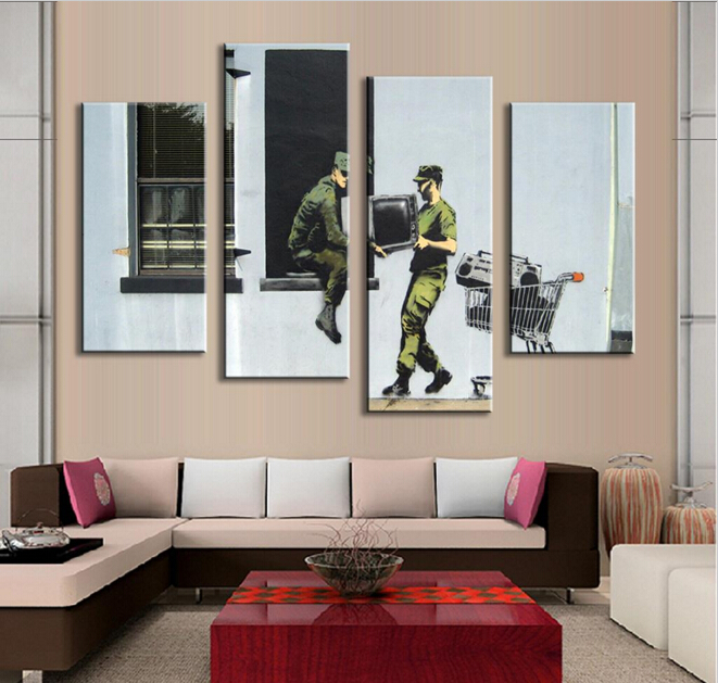 4 Pcs Set Banksy Art Distribute Entertainment Wall Printed On Canvas Painting For Living Room Hanging Picture