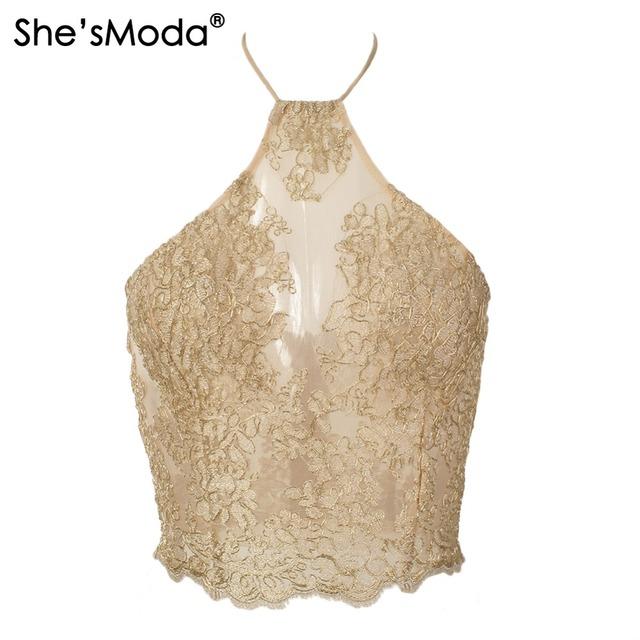 9aa1d0bd872b4 She'sModa Embroidery Lace Gauze Metallic Crop Top Summer Backless Halter  Women Vest Top