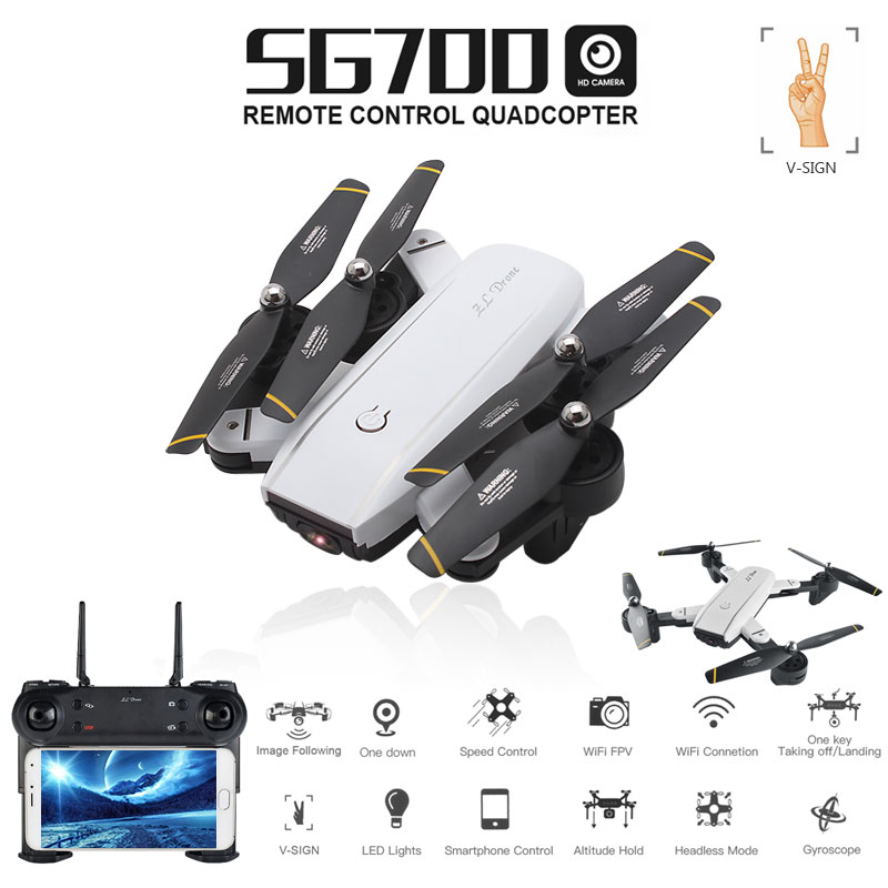 SG700 0.3MP/2MP Rc Quadcopter with Camera Wifi FPV Foldable Selfie Drone Altitude Hold Headless Gesture Control Dron vs E58 rc dron mini foldable selfie drone with wifi fpv 2mp camera dual gps follow me altitude hold quadcopter toys vs s9 e58 h37 xs809