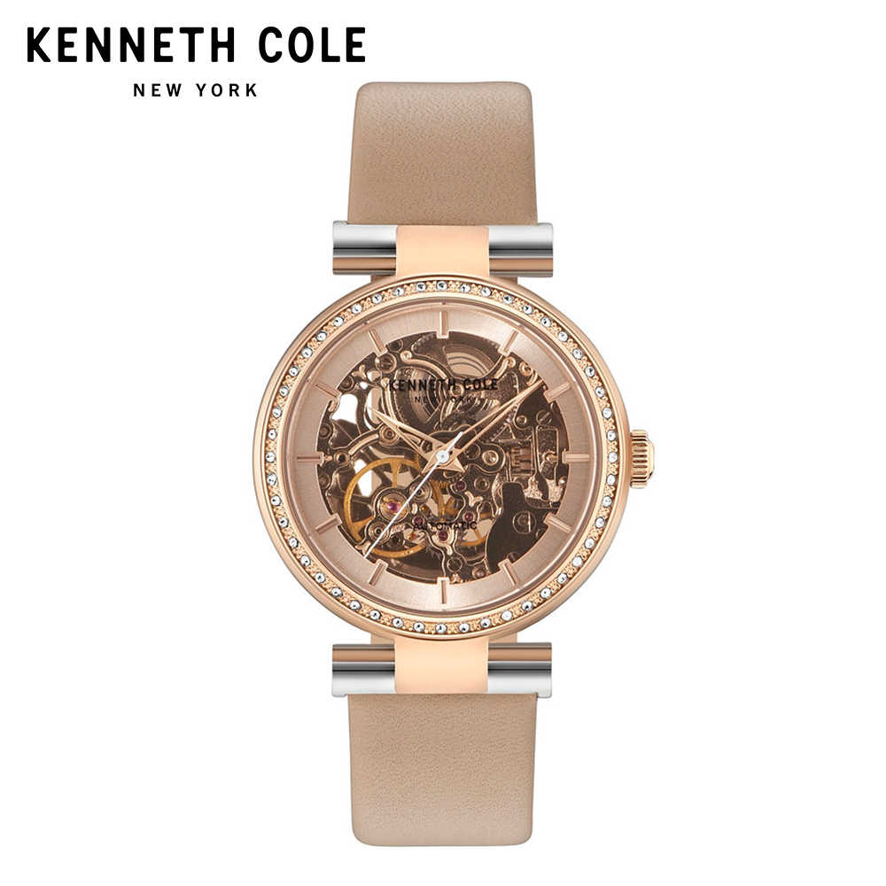 e62a210b666 ... Kenneth Cole Original Women Watches Auto Mechanical Ladies Watch  KC15107001 Leather Strap Khaki White Luxury Brand ...