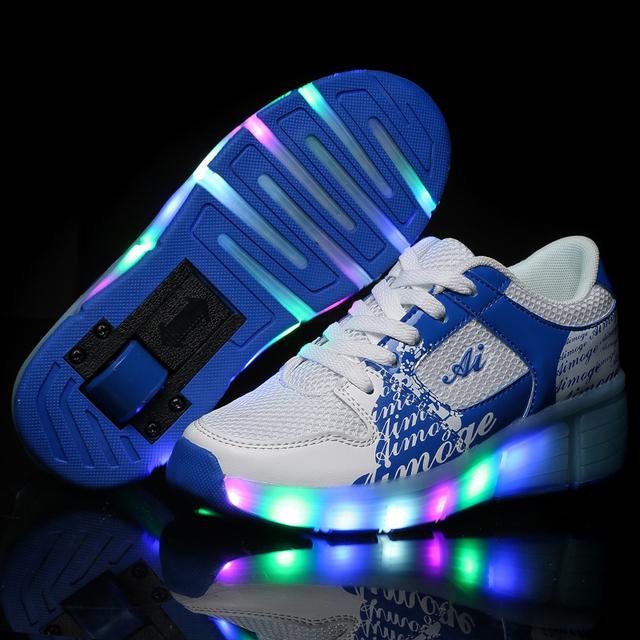 2017 crianças de moda de nova led rodas shoes ultraleve meninas meninos roller skate shoes crianças led shoes com roda única marca shoes