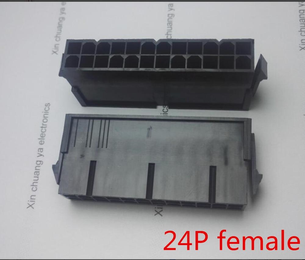 2 Lot Half Gold Pins Spares ATX Molex 5557 24P 24-Pin Male PSU Housing White
