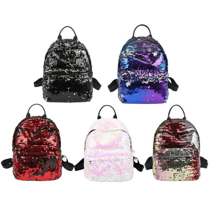 Sequins Glitter Bling Backpacks Teenager Girls PU Leather Backpack Girls Shoulder School Bag Travel Rucksack 6