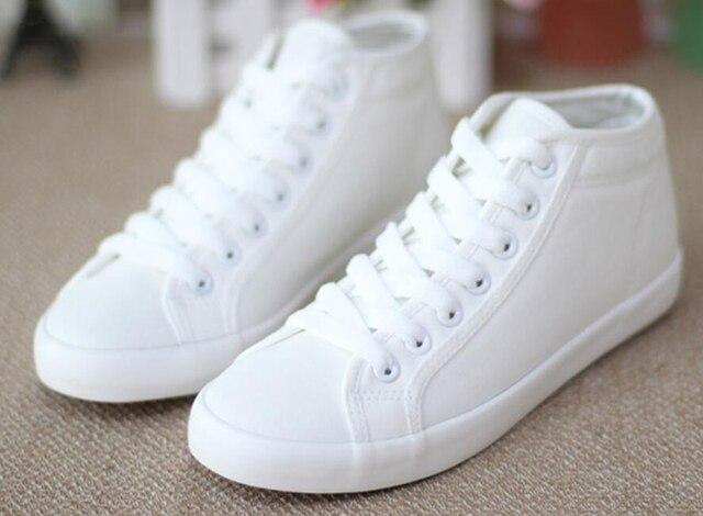 Женская мода Холст Обувь Высокий Верх Узелок Белые Туфли женщины Квартиры Повседневная Обувь Для Леди Квартиры Плюс Размер 35-40 cd51