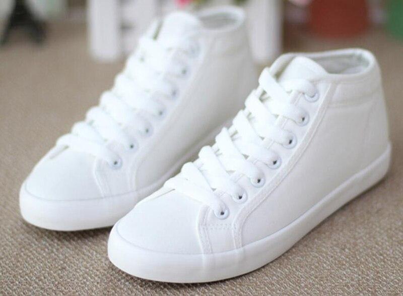 Mujeres de la manera Zapatos de Lona High Top Lace Up Zapatos Blancos mujer Piso