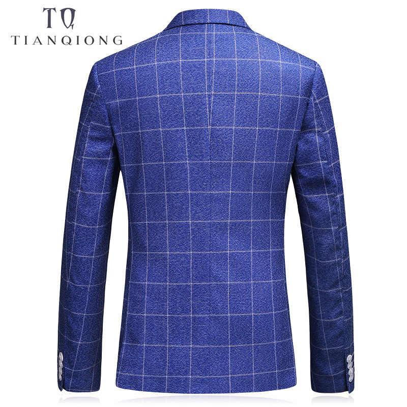 天原作ダブルブレストスーツ男性 2018 スリムフィットの結婚式のスーツロイヤルブルータキシードジャケット有名なブランドの格子縞スーツ 3 ピース