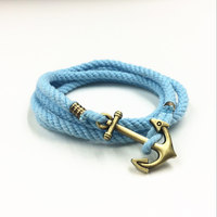 Pure Handmade Bracelet Charms Anchor Rope Bracelet Bangle DIY Jewelry Bracelet