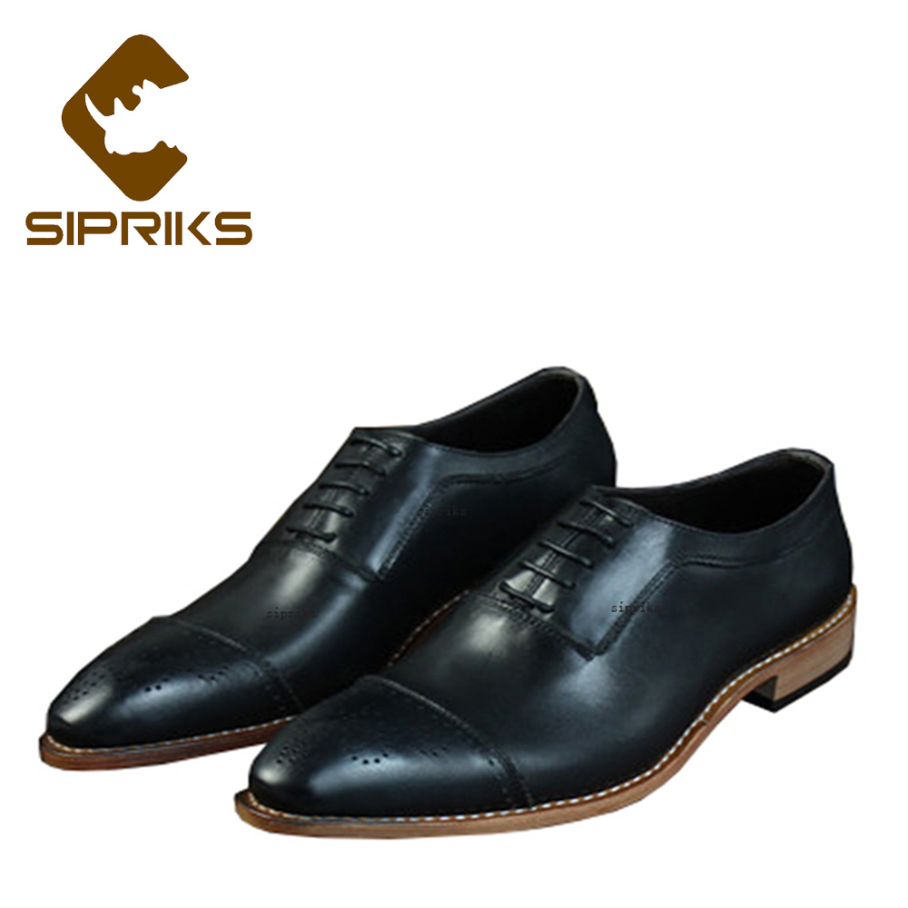 Sipriks Mens Church Shoes Black Leather Brogues Oxfords Shoes Italian Custom Goodyear Welted Shoes Elegant Mens Dress Shoes Boss цена