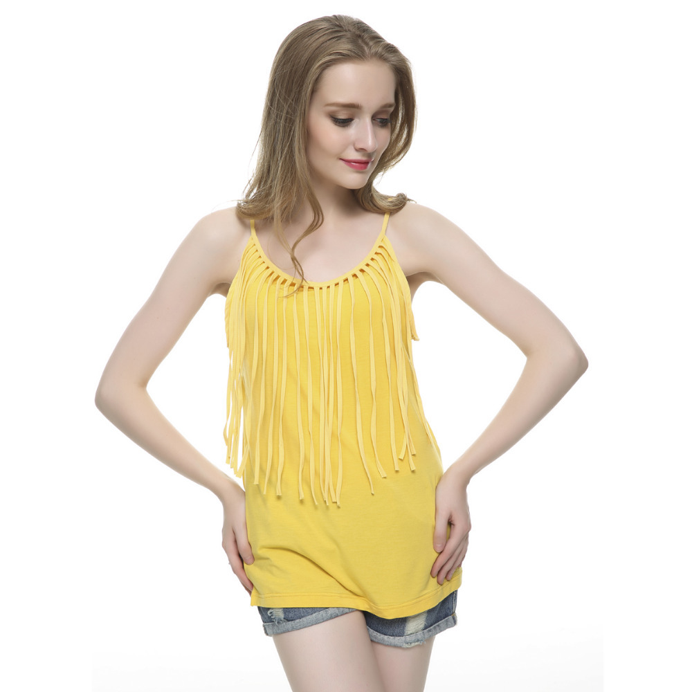 Women 39 s sexy fringe tank top sleeveless tassel stretchable for Top dress shirt brands
