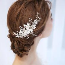 ФОТО crystal and rhinestone bridal hair comb ceramic floral wedding headpiece 2018 handmade hair accessories for brides