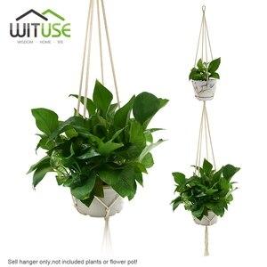 Image 3 - WITUSE 1PC Macrame rośliny wieszak 4 nogi Retro kwiat garnek wiszące ze zwisającymi linkami ciąg strona główna ogród dekoracja balkonowa Wall Art