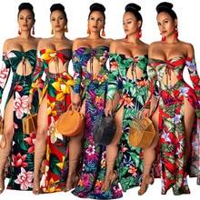 Summer Women's Long Sleeve Floral Printed Hollow Cut High Slit Sexy Beach Dress Women Dress Maxi Dress все цены