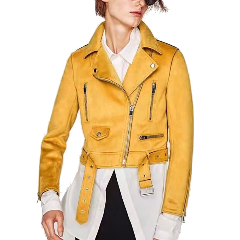 d2052fc80 2019Faux Shearling Sheepskin Coats Women Thick Suede Jackets Women Spring  And Autumn Long Sleeve Short Motorcycle