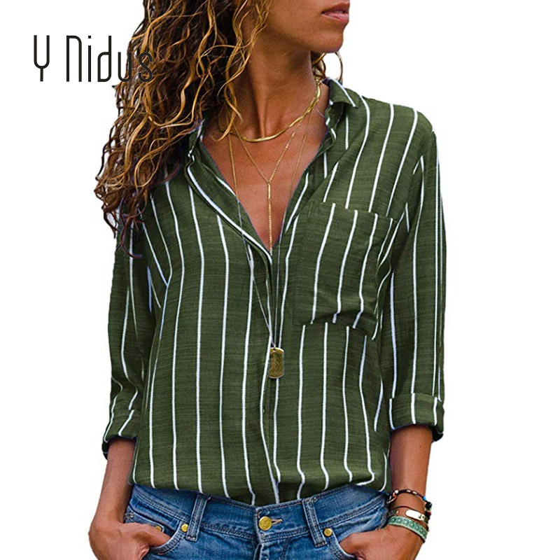 Women's Shirt Chiffon Striped Blouse With Pockets 2018