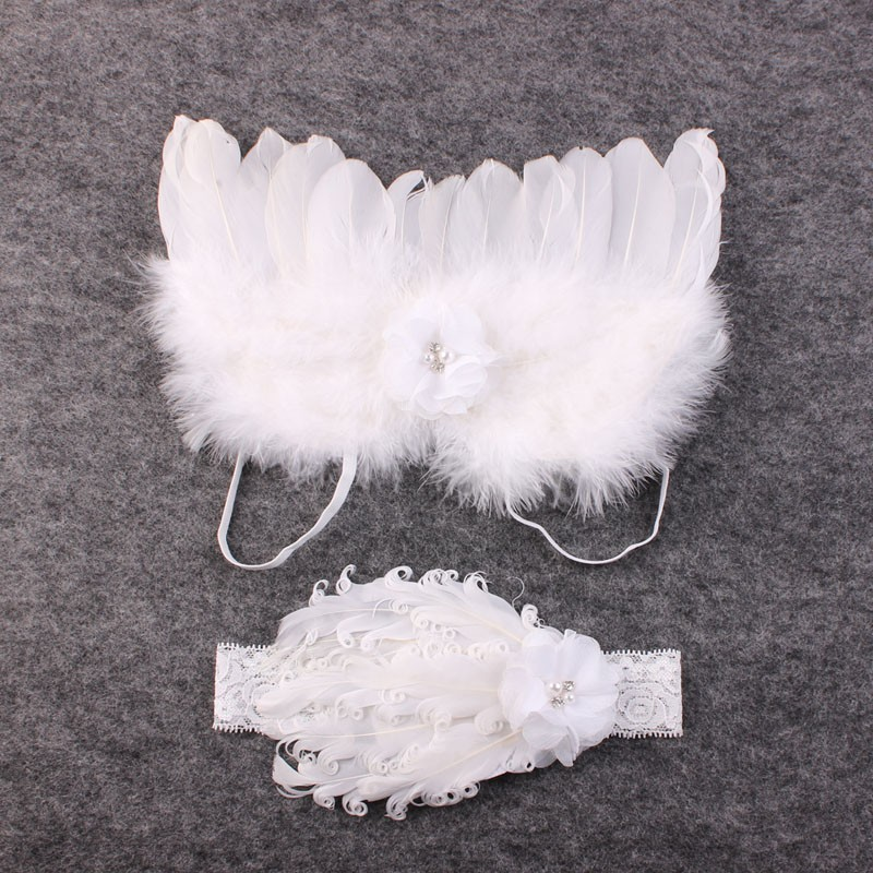 Vintage Blush Angel Wings dan White Feather Headband Lace Headband - Aksesori pakaian - Foto 1