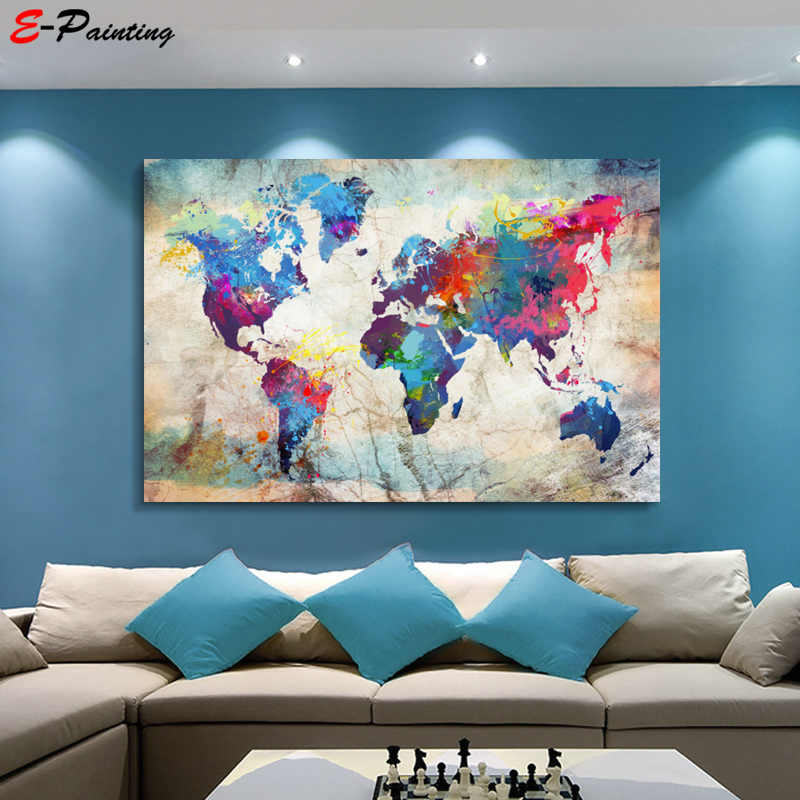 Modern Wall Art Single Pieces Canvas Poster World Map Colorful Decoration Picture Living Room Home Docor Printing