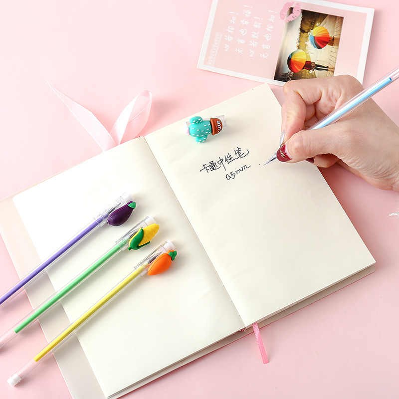 1 pçs transparente caneta kawaii legumes gato pata gel caneta estudante escrita papelaria assinar caneta tinta preta 0.5mm escolar papelaria