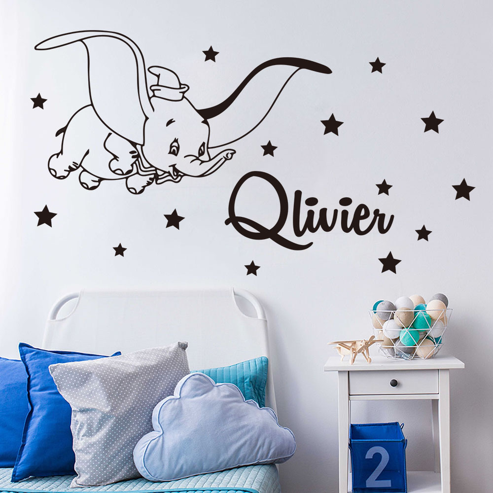 Dessin Anime Personnalise Nom Dumbo Star Sticker Mural Enfants Chambre Chambre Personnalise Nom Dumbo Animal Mur Autocollant Pepiniere Vinyle Decor