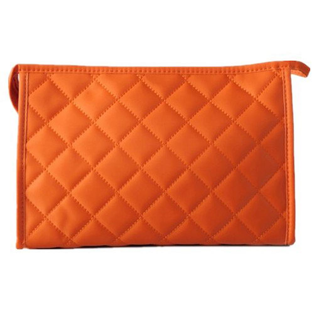 Wholesale 5* ( Women Zipper Closure Small Cosmetic Case Makeup Bag - Orange Size S