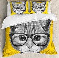 Animal Duvet Cover Set Sketchy Hand Drawn Design Baby Hipster Cat Cute Kitten with Glasses Image Print, 4 Piece Bedding Set