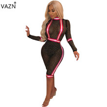VAZN Autumn 2018 New Sexy Style Fashion Women Playsuits Solid Diamonds O Neck Full Sleeve Lace