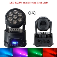 4Pcs/Lot Professional LED 7x10W RGBW 4IN1 Moving Head Wash Light DMX512 For Disco DJ Music Party KTV Nightclub Stage Lights