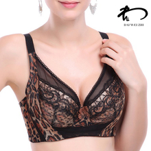 DAIWEIZHI Female lace sexy Leopard Black bralette push up Bra big large size bras plus size bras for women sutian bra V21158