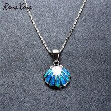 RongXing шикарный дизайн оболочки Синий огненный опал подвески и ожерелья s для женщин Мода 925 пробы заполненный серебром ожерелье подарок NL0085