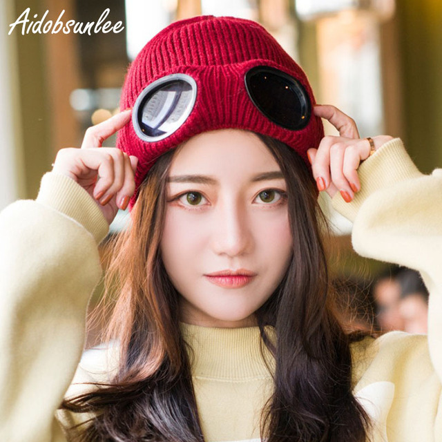 2017 Fashion Winter Beanies Cap Hats Stacking Mesh Hats Women Personality  Cap Ski Windproof Glasses Wool Hat Plus Velvet Thick 0465040a645a