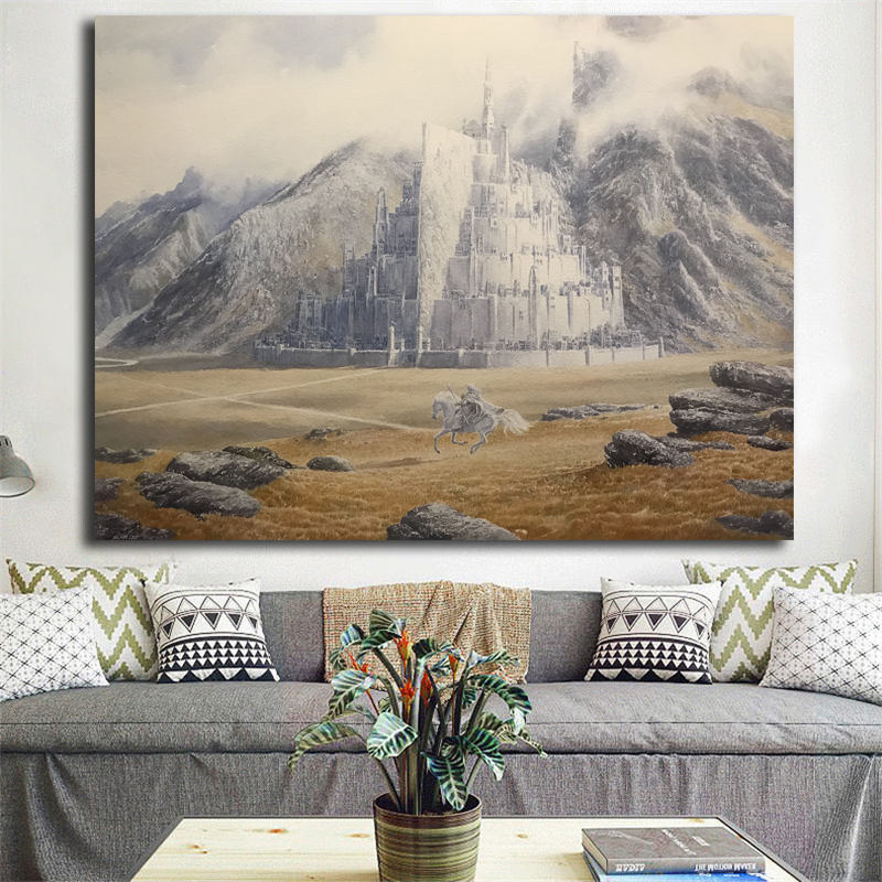 Lord Of The Rings Gandalf Rides To Minas Tirith By Alan Lee Art Canvas Poster Painting Wall Picture Print Home Bedroom Decor HD