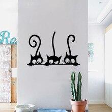 Три Кошки Животных Бытовой Комнате Окна Стикер Стены Росписи Декор Наклейка Съемный X7.19