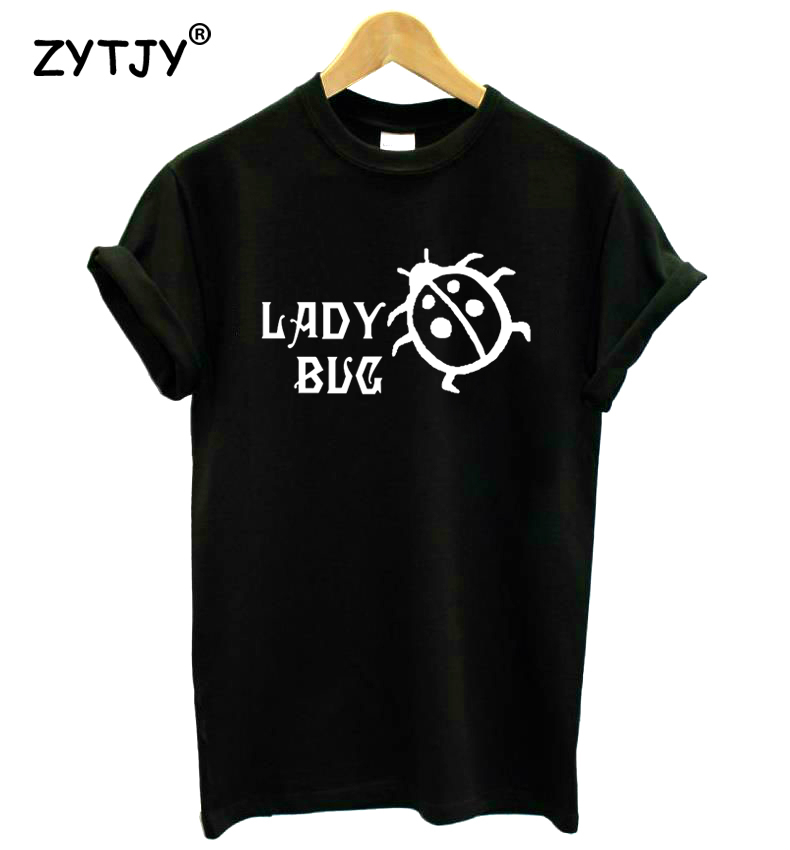Lady Bug Print Women tshirt Casual Cotton Hipster Funny t shirt For Girl Top Tee Tumblr Drop Ship BA-243