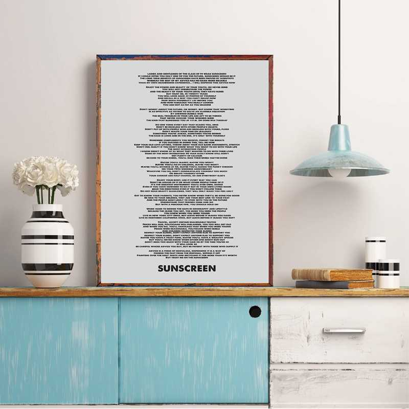 Baz Luhrmann Wear Sunscreen Quote Minimalist Art Canvas Poster Painting Lyric Art Typography Music Wall Picture Print Home Decor