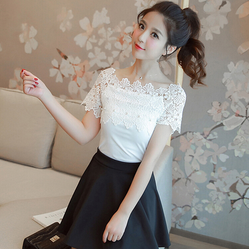 Sexy Short Sleeve Blouse Ladies Fashion Elegant Hollow Out Blouses Women Lace Patchwork Blouse Shirt Casual Women Top