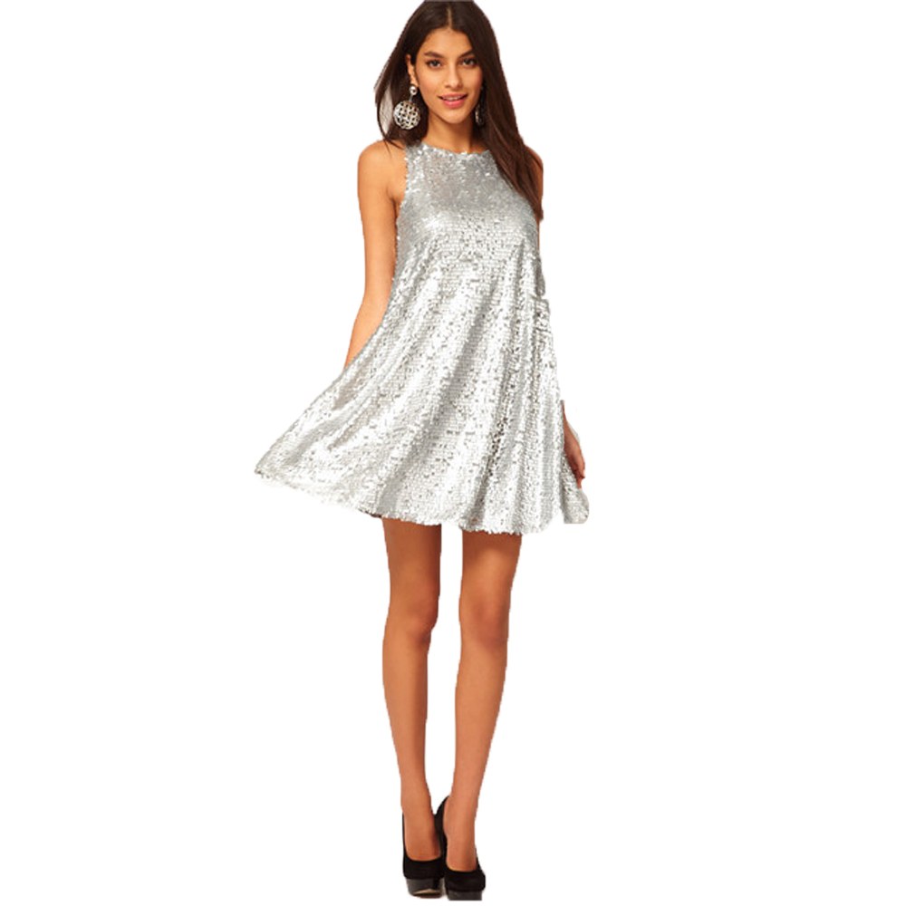 Buy Cheap 2017 Vestido De Festa Women Party Sequined Dresses Brand Elegant New Sleeveless Tank Dress Clothes for Lady Silver Clothing Wear
