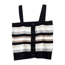 купить Tank Top Women Tshirt Summer New Style Casual Slim Fit Striped Button Dot Shoulder Tape Type Camisoles Tops по цене 288.85 рублей