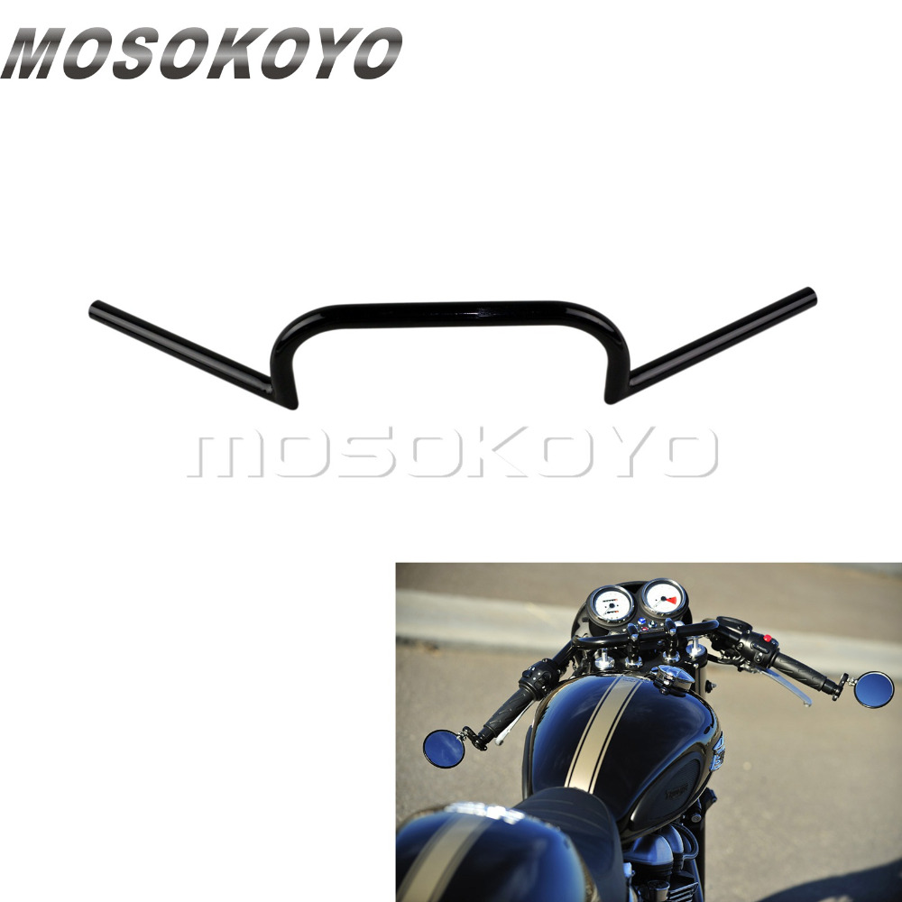7 8inch or 1inch Black Handlebar Clubman Handle Bar 22mm 25mm Handlebars for Cafe Racer Cruiser Bobber Chopper