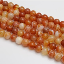 Baihande Natural Red Stripe Agate Onyx Stone 6 8 10 12mm Round Gemstone Loose Beads For Necklace Bracelet DIY Jewelry Making