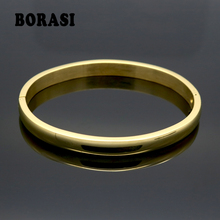 Bangle Bracelets Couple Rose-Gold Stainless-Steel Color-Lover Jewelry Plain Women Smooth