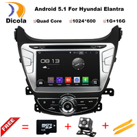 ROM 16 Г 1024*600 Quad Core Android 5.1.1 Fit Hyundai ELANTRA, MD 2011 2012 2013 2014 2015 Dvd-плеер Автомобиля GPS Навигации 3 Г Радио